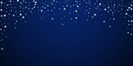 Random falling stars Christmas background. Subtle flying snow flakes and stars on dark blue night background. Attractive winter silver snowflake overlay template. Favorable vector illustration. Ilustrace