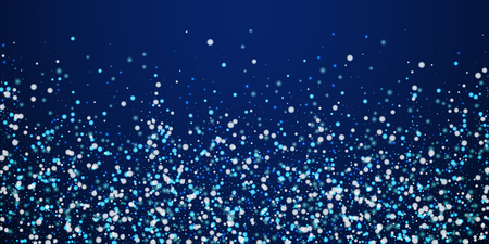 Beautiful falling snow Christmas background. Subtle flying snow flakes and stars on winter sky background. Actual winter silver snowflake overlay template. Vibrant vector illustration.