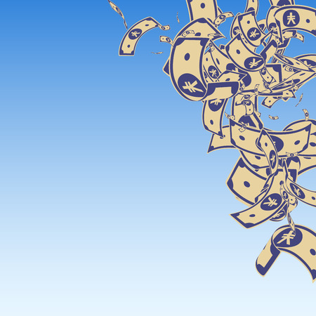 Chinese yuan notes falling. Messy CNY bills on blue sky background. China money. Elegant vector illustration. Superb jackpot, wealth or success concept.