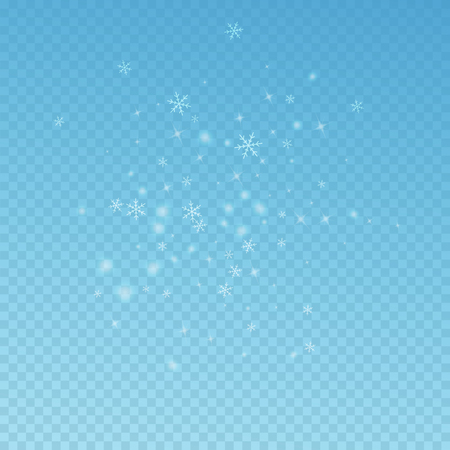 Sparse glowing snow Christmas background. Subtle flying snow flakes and stars on blue transparent background. Actual winter silver snowflake overlay template. Impressive vector illustration.