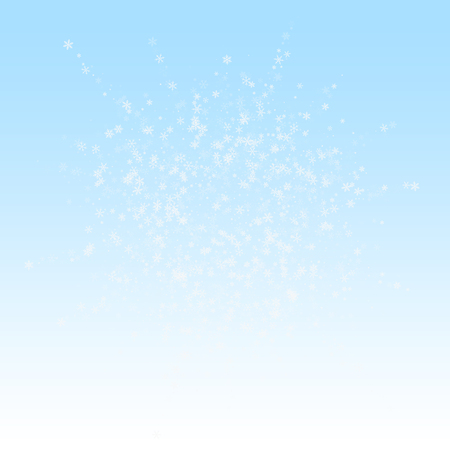 Beautiful snowfall Christmas background. Subtle flying snow flakes and stars on winter sky background. Beauteous winter silver snowflake overlay template. Good-looking vector illustration. Stock Illustratie