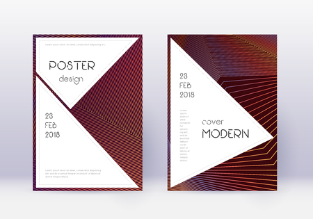 Stylish cover design template set. Orange abstract lines on wine red background. Fantastic cover design. Bewitching catalog, poster, book template etc.
