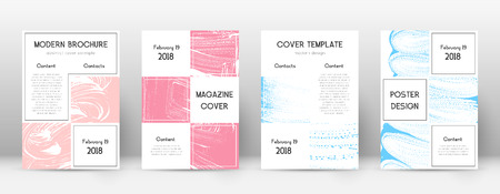 Cover page design template. Business brochure layout. Bewitching trendy abstract cover page. Pink and blue grunge texture background. Authentic poster.