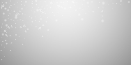 Sparse glowing snow Christmas background. Subtle flying snow flakes and stars on light grey background. Authentic winter silver snowflake overlay template. Sublime vector illustration.