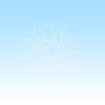 Beautiful snowfall Christmas background. Subtle flying snow flakes and stars on winter sky background. Beauteous winter silver snowflake overlay template. Exotic vector illustration.