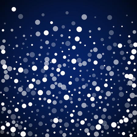 White dots Christmas background. Subtle flying snow flakes and stars on dark blue night background. Alluring winter silver snowflake overlay template. Precious vector illustration.