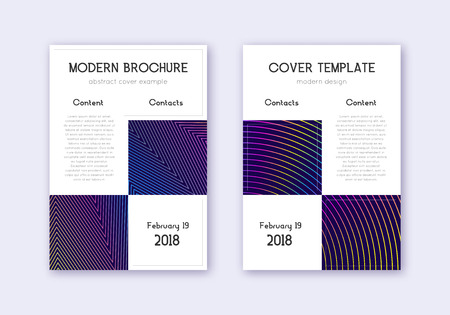 Business cover design template set. Rainbow abstract lines on dark blue background. Artistic cover design. Worthy catalog, poster, book template etc.