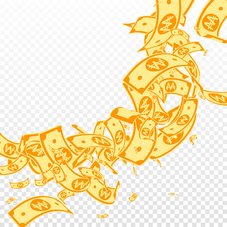 Korean won notes falling. Messy WON bills on transparent background. Korea money. Cute vector illustration. Resplendent jackpot, wealth or success concept.