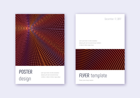 Minimalistic cover design template set. Orange abstract lines on wine red background. Elegant cover design. Favorable catalog, poster, book template etc. Ilustrace