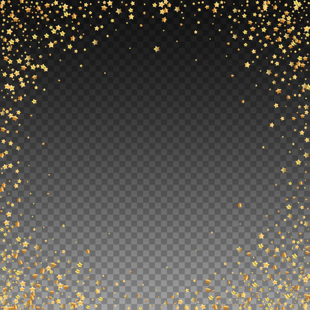 Gold stars luxury sparkling confetti. Scattered small gold particles on transparent background. Artistic festive overlay template. Ecstatic vector illustration.