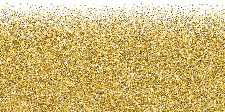 Round gold glitter luxury sparkling confetti. Scattered small gold particles on white background. Brilliant festive overlay template. Shapely vector illustration.