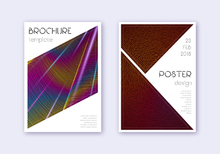 Triangle cover design template set. Rainbow abstract lines on wine red background. Imaginative cover design. Posh catalog, poster, book template etc.