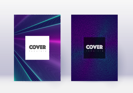 Hipster cover design template set. Neon abstract lines on dark blue background. Cool cover design. Overwhelming catalog, poster, book template etc. Illusztráció