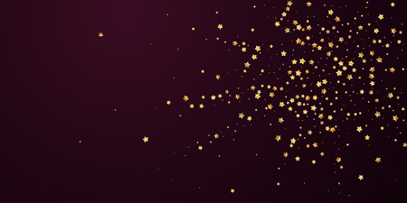 Gold stars random luxury sparkling confetti. Scattered small gold particles on red maroon background. Attractive festive overlay template. Fantastic vector illustration.
