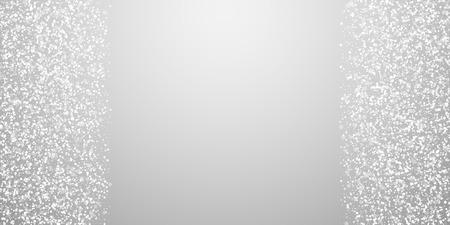 Magische sterren Kerstmis achtergrond. Subtiele vliegende sneeuwvlokken en sterren op lichtgrijze achtergrond. Aantrekkelijke winter zilveren sneeuwvlok overlay sjabloon. Klassieke vectorillustratie. Vector Illustratie