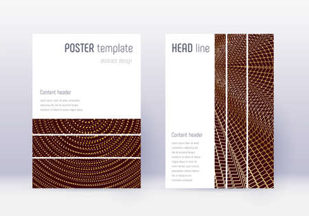 Geometric cover design template set. Gold abstract lines on maroon background. Beautiful cover design. Extraordinary catalog, poster, book template etc.