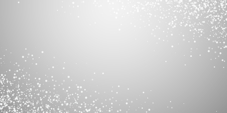 Amazing falling snow Christmas background. Subtle flying snow flakes and stars on light grey background. Appealing winter silver snowflake overlay template. Fine vector illustration.
