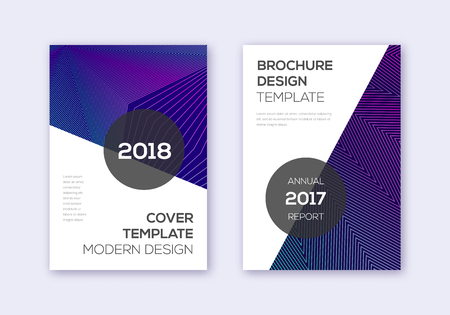 Modern cover design template set. Neon abstract lines on dark blue background. Extraordinary cover design. Favorable catalog, poster, book template etc. Ilustrace
