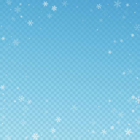 Sparse snowfall Christmas background. Subtle flying snow flakes and stars on blue transparent background. Amazing winter silver snowflake overlay template. Vibrant vector illustration.
