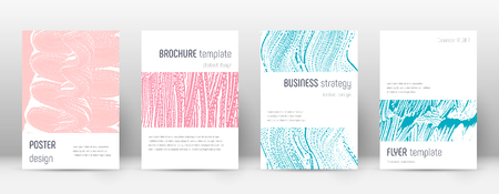 Cover page design template. Minimalistic brochure layout. Classy trendy abstract cover page. Pink and blue grunge texture background. Memorable poster.