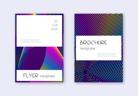 Stylish cover design template set. Rainbow abstract lines on dark blue background. Fine cover design. Astonishing catalog, poster, book template etc.