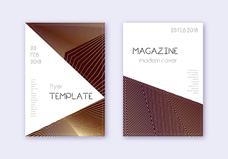Triangle cover design template set. Gold abstract lines on maroon background. Impressive cover design. Classy catalog, poster, book template etc. Vector Illustration