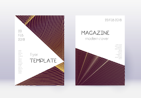 Triangle cover design template set. Gold abstract lines on maroon background. Impressive cover design. Fresh catalog, poster, book template etc.