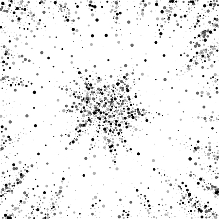 Scattered dense balck dots. Dark points dispersion on white background. Bizarre grey spots dispersing overlay template. Awesome vector illustration. Ilustração
