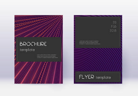 Black cover design template set. Violet abstract lines on dark background. Amusing cover design. Splendid catalog, poster, book template etc.