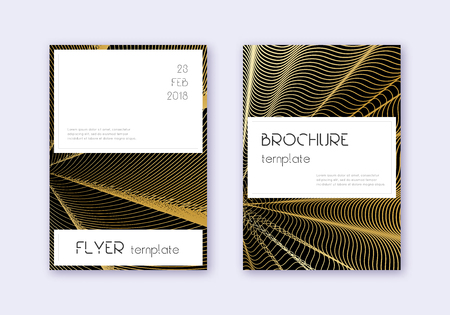 Stylish cover design template set. Gold abstract lines on black background. Favorable cover design. Actual catalog, poster, book template etc. Ilustrace