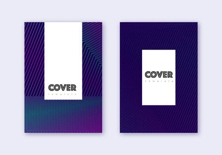 Hipster cover design template set. Neon abstract lines on dark blue background. Classic cover design. Creative catalog, poster, book template etc.