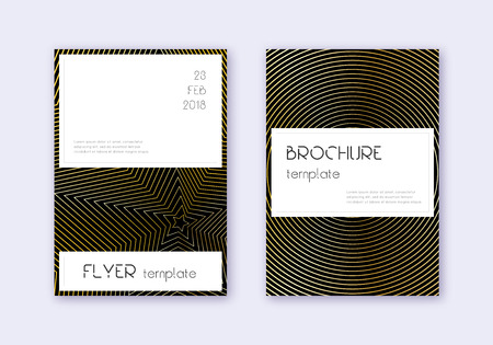 Stylish cover design template set. Gold abstract lines on black background. Fascinating cover design. Rare catalog, poster, book template etc. 일러스트
