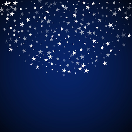 Random falling stars Christmas background. Subtle flying snow flakes and stars on dark blue night background. Amazing winter silver snowflake overlay template. Delicate vector illustration.