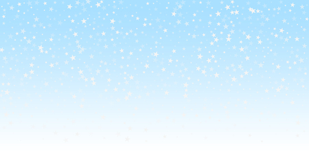 Random falling stars Christmas background. Subtle flying snow flakes and stars on winter sky background. Beauteous winter silver snowflake overlay template. Sublime vector illustration.