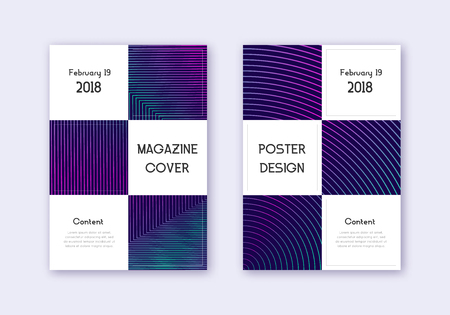 Business cover design template set. Neon abstract lines on dark blue background. Authentic cover design. Radiant catalog, poster, book template etc. Illustration