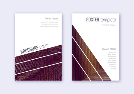 Geometric cover design template set. Gold abstract lines on maroon background. Breathtaking cover design. Admirable catalog, poster, book template etc.