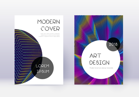 Trendy cover design template set. Rainbow abstract lines on dark blue background. Grand cover design. Alluring catalog, poster, book template etc.