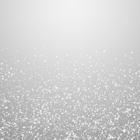 Amazing falling stars Christmas background. Subtle flying snow flakes and stars on light grey background. Alluring winter silver snowflake overlay template. Creative vector illustration.