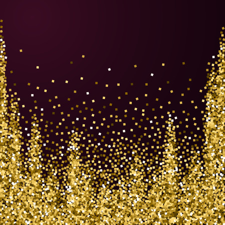 Gold glitter luxury sparkling confetti. Scattered small gold particles on red maroon background. Adorable festive overlay template. Breathtaking vector illustration.