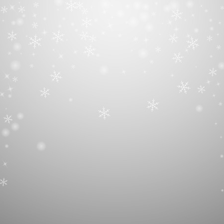 Sparse glowing snow Christmas background. Subtle flying snow flakes and stars on light grey background. Admirable winter silver snowflake overlay template. Great vector illustration.