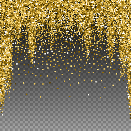 Gold glitter luxury sparkling confetti. Scattered small gold particles on transparent background. Admirable festive overlay template. Pleasing vector illustration.