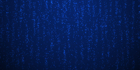 Magic stars sparse Christmas background. Subtle flying snow flakes and stars on dark blue night background. Awesome winter silver snowflake overlay template. Decent vector illustration.