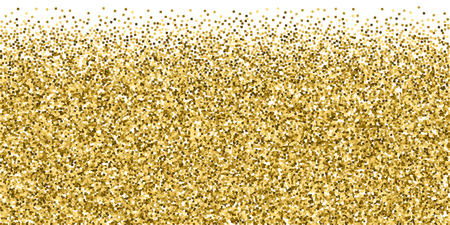 Gold glitter luxury sparkling confetti. Scattered small gold particles on white background. Brilliant festive overlay template. Lively vector illustration.