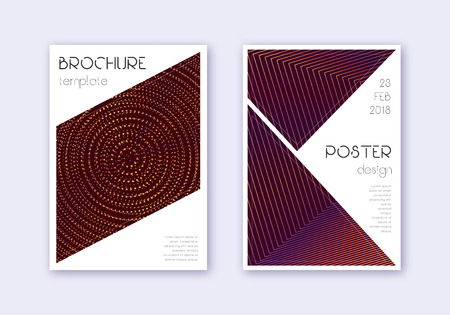 Triangle cover design template set. Orange abstract lines on wine red background. Ideal cover design. Ravishing catalog, poster, book template etc.