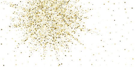 Gold triangles luxury sparkling confetti. Scattered small gold particles on white background. Awesome festive overlay template. Bizarre vector illustration.
