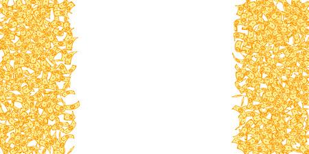 Chute des billets de won coréen. Petits billets gagnés sur fond blanc. L'argent de la Corée. Illustration vectorielle délicieuse. Beau jackpot, richesse ou concept de réussite. Vecteurs
