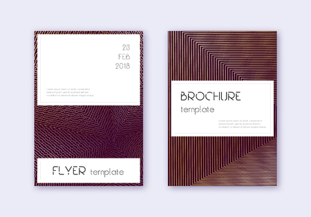 Stylish cover design template set. Gold abstract lines on maroon background. Favorable cover design. Fine catalog, poster, book template etc.