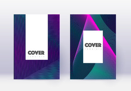 Hipster cover design template set. Neon abstract lines on dark blue background. Classic cover design. Appealing catalog, poster, book template etc.
