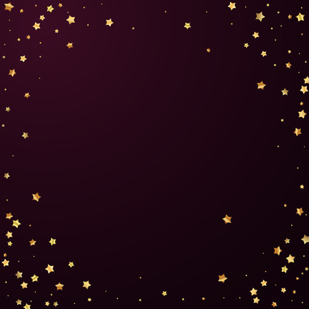 Gold stars random luxury sparkling confetti. Scattered small gold particles on red maroon background. Artistic festive overlay template. Emotional vector illustration. 矢量图片
