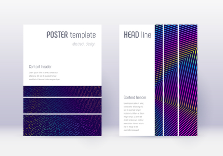 Geometric cover design template set. Rainbow abstract lines on dark blue background. Bizarre cover design. Breathtaking catalog, poster, book template etc.